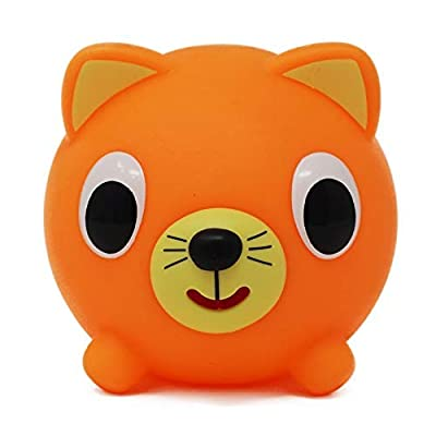 Jabber Ball Sankyo Toys Squeeze and Play Sound Ball - Neon Orange Cat: Toys & Games