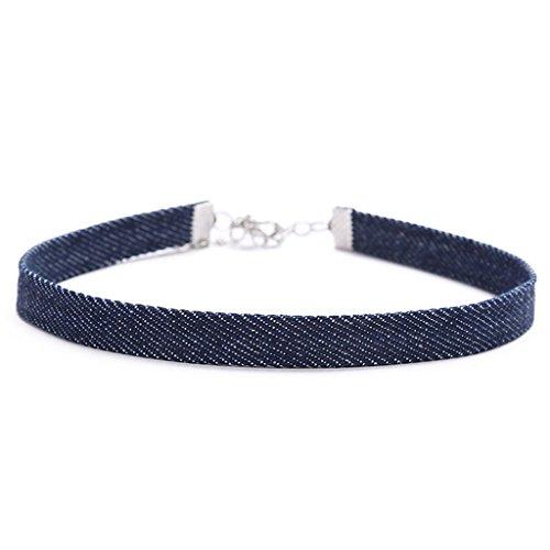 - Onefa Denim Choker Necklace, Velvet Denim Satin Adjustable Size Women Teen Girl Fashion Chain