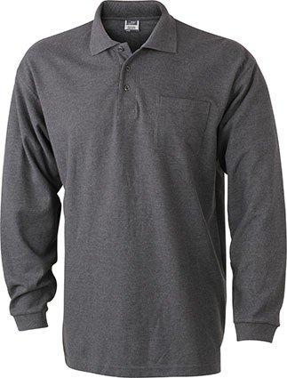 Herren Langarm-Polohemd mit Brusttasche, Farbe:anthracite;Größe:XXL
