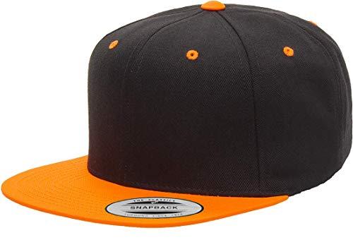 (Yupoong Premium Classic Snapback Hat | Flat Brim, Adjustable Ballcap w/Hat Liner (Black/Neon Orange))