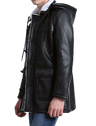 Leather K M Jacket Sherpa Toggle Hood Allegra Pu Men Black Lined Removable BTOwnxRUq