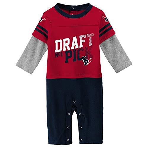 Outerstuff NFL Houston Texans Newborn & Infant Draft Pick Long Sleeve Coverall Crimson, 3-6 - Nfl Houston Draft Texans
