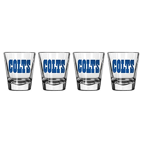 NFL Indianapolis Colts Wordmark Satin Etch Shot Glass, 2-ounce, 4-Pack