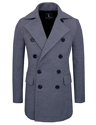 Tom's Ware Mens Stretch Wool Blend Trim Fit Pea Coat TWNFD076J-GRAY-US L (Peacoat Stretch)