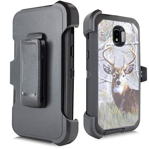 - for Samsung Galaxy J3 2018, J3V J3 V 3rd Gen,Express Prime 3, J3 Star, J3 Achieve, Amp Prime 3 Heavy Duty Defender Case, Belt Clip Holster w/ [Built-in Screen Protector] (Deer)