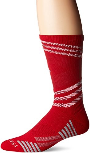 adidas Speed Mesh Basketball/Football Team Crew Socks, Power Red/White/Strong Red/Light Onix, X-Large