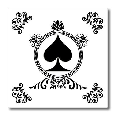 Popular Poker - 3dRose Ace of Spade. Playing Cards. Poker. White and black. Popular image.-Iron on Heat Transfer, 8 by 8