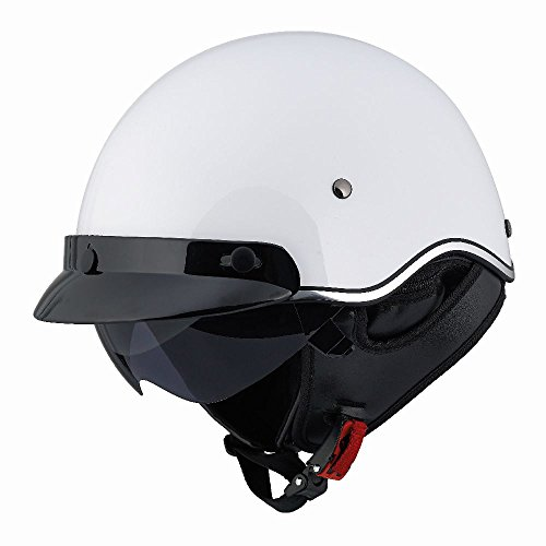 LS2 SC3 Solid Half Helmet with Sunshield (Pearl White, Small) (White Half Helmet)