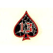 Spider Web 13 Spade Red white on black Small Badge Patch for Biker Vest SB804