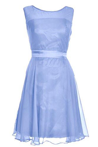 MACloth Women Boat Neck Chiffon Short Bridesmaid Pary Dress Cocktail Formal Gown Cielo azul