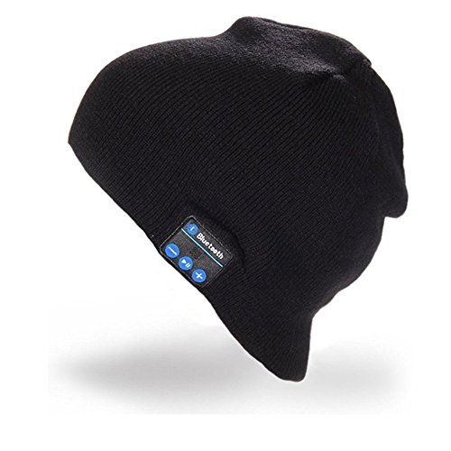 Bluetooth Hat Wireless Bluetooth Music Hat Winter Knitted Cap For Outdoor Sports Christmas Gifts (Black)