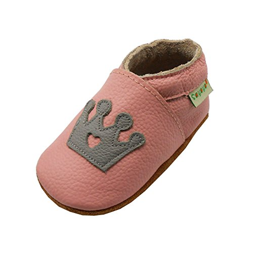 Sayoyo Baby Crown Soft Sole Leather Infant Toddler Prewalker Shoes (6-12 months, Pink)