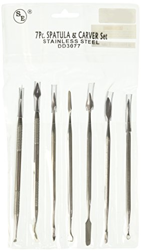 [SE DD3077 Spatula & Carver Set Double Ended Stainless Steel 7 Pc] (Special Effects Makeup Kit)
