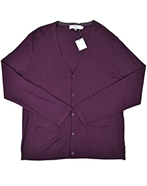 Calvin Klein Men's Slim Fit Button Down Cardigan Sweater Purple Large