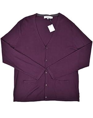Calvin Klein Men's Slim Fit Button Down Cardigan Sweater Purple Large