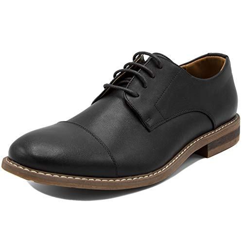 (Men's Classic Cap Toe Oxford Dress Shoes-Harbor 2-Black)