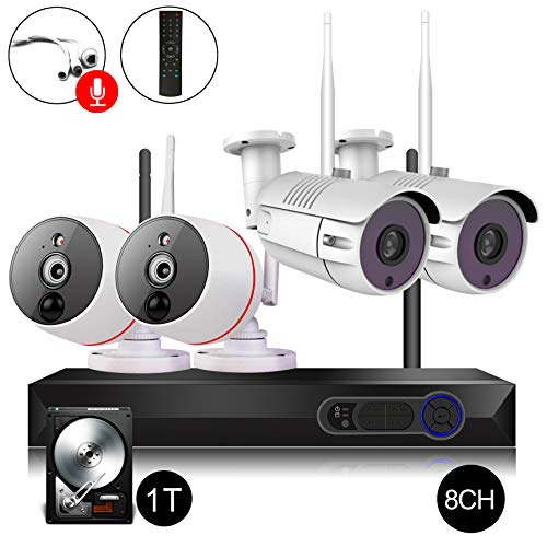 CAMVIEW 8CH Security Camera System Wireless 1080P WiFi NVR Kits + 2 x 2.0MP Wireless Security Cameras + 2 x PIR 2-Way Audio Home Surveillance Camera, 65FT Night Vision, 1TB Hard Drive
