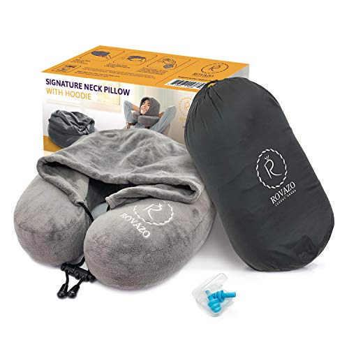 ROVAZO Hooded Neck Pillow and Silicone Ear Plugs -Premium Sleep Travel Kit – Ultra Soft Memory Foam Airplane Cushion with Adjustable Drawstring Hood - Bonus Carrying Bag