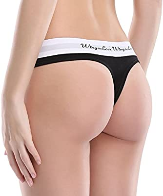 WingsLove Women's Seamless Sexy Cotton Tangas Thong Panties Underwear Pack of 3