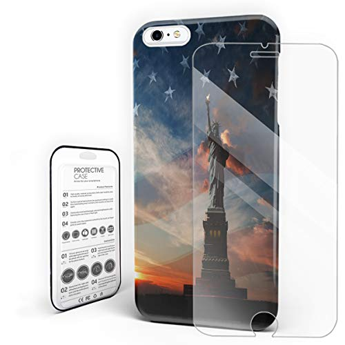 (Compatible with iPhone 6 Plus Case and iPhone 6s Plus Case, Hard PC Back Phone Case with Tempered Glass Screen Protector The Statue of Liberty Shockproof Protective)