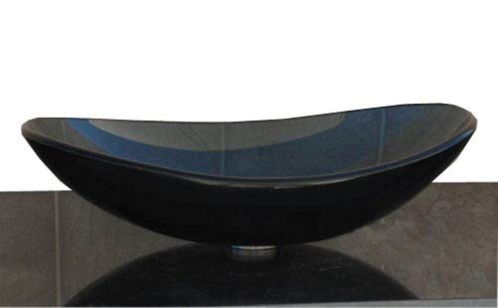 Elite 1 2 Thick Clear Black Oval boat Glass Vessel Sink Pop Up Drain Mounting Ring