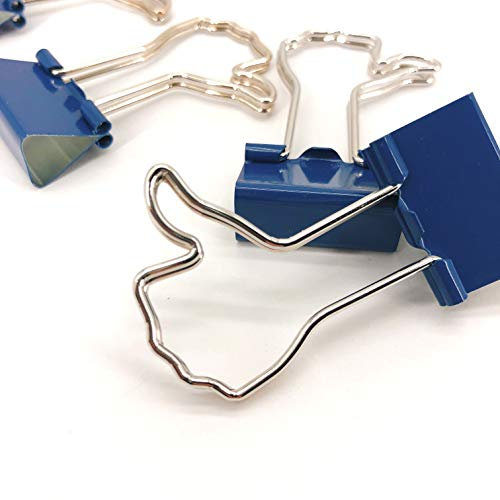 - Zebra Binder Clips, Thumb Shaped Clips with Silver Handles and Navy Blue Body, Cute Novelty Like Icon Foldover Clips, Pack of 12 Pieces