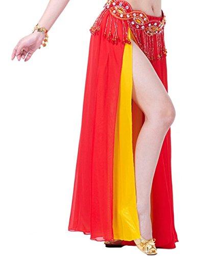 Chiffon Maxi Skirt 2 Side Slit Double Layers Costume Red+Yellow (Adult Double Layer Chiffon Skirt)