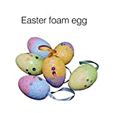 Tuscom 12pcs New Colorful Easter Eggs DIY Drawing Decorations Foam Egg Hanging Ornaments Easter Christmas Decoration, Best Easter Gift (12PCS)