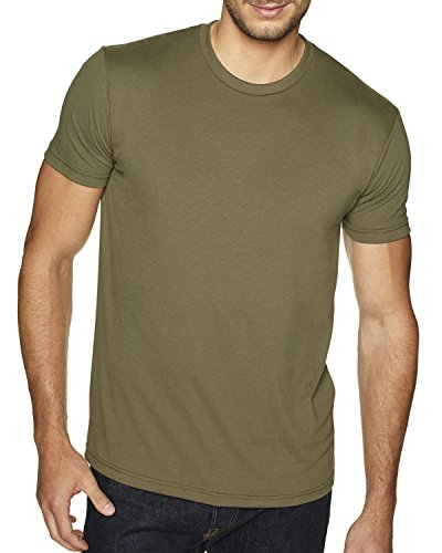 next-level-mens-premium-fitted-sueded-crew-military-green-medium