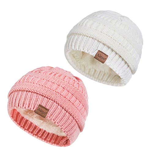 Alepo Fleece Lined Baby Beanie Hat, Infant Newborn Toddler Winter Warm Cute Soft Cozy Chunky Thick Thermal Knitted Kids Cap for Boys Girls (2 Pack Pink&White)