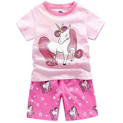 B.GKAKA Little Girls Short Pajamas Horse Glow in The Dark Kids Summer Sleepwear Clothes 2 Piece -