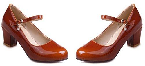 Delle Fibbia Del Alla Di Blocco Rotonda Cinturino Eleganti Caviglia Donne Metà Corte Marrone Scarpe Elegante Aisun Punta Tacchi C1xqtSwx8