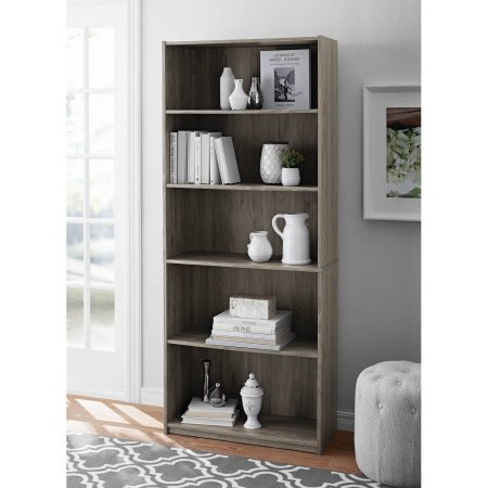 Mainstays 5-Shelf Wood Bookcase - OAK