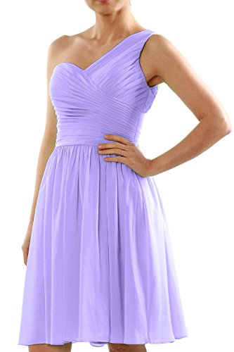 Bridesmaid Short Wedding Chiffon One Order Shoulder Made Lavendel Women MACloth Dress to w6Yqtt