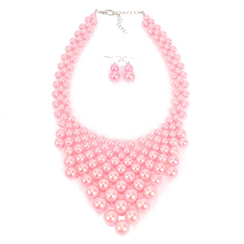- KOSMOS-LI Fashion Imitate Pink Pearl Strand Collar Handwoven Necklace for Women Jewelry