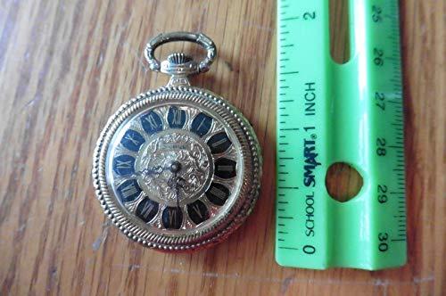 Sheffield Goldtone Vintage Pocket Watch Black Enamel Roman Rosette Back Swiss
