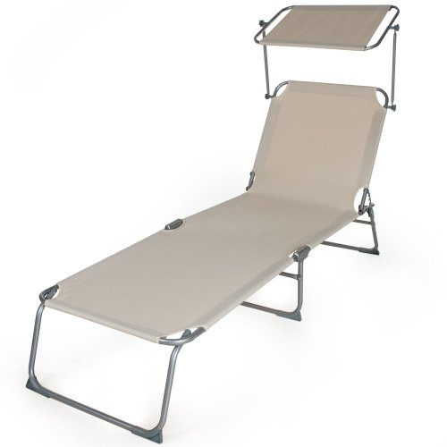 TecTake Beautiful Outdoor Folding Garden Sun Lounger With Sunshade Recliner  Chair Beige: Amazon.co.uk: Garden U0026 Outdoors Part 53