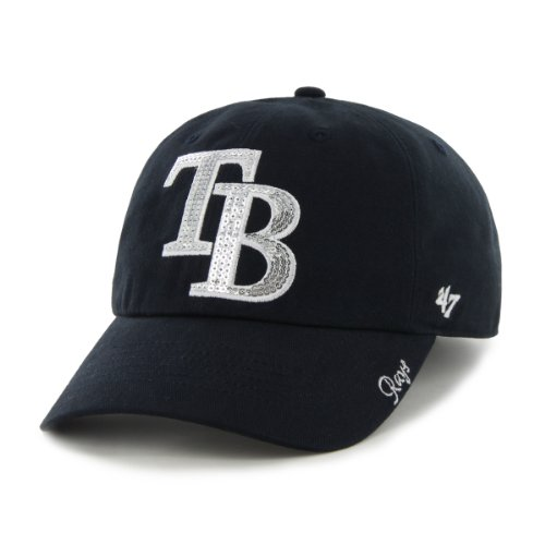 MLB Tampa Bay Rays Women's Sparkle Team Color Cap, One-Size, Navy - Cap Bay Baseball Tampa