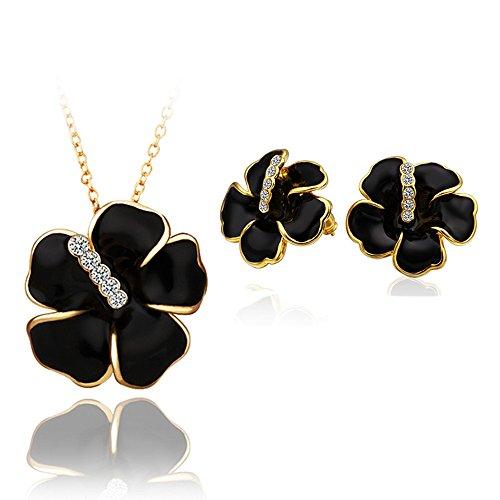 Très exquis ensemble de bijoux de femmes 18K collier plaqué or et Boucles d'oreilles- S350