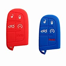 TCKEY Silicone Rubber Protective Fob Skin Key Case Cover Jacket Protector Sleeve Fob for 2011-2014 CHRYSLER 300 DODGE Charger Journey Smart Remote Key Case Gift