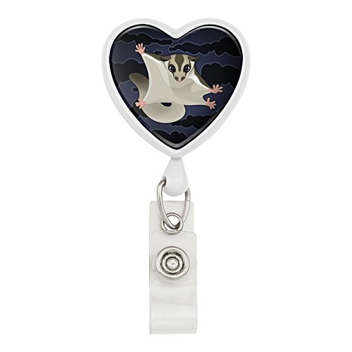 Sugar Glider of the Night Heart Lanyard Retractable Reel Badge ID Card Holder - White ()