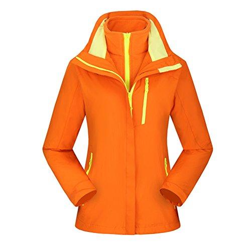 Sanke Veste de snowboard impermable  l'extrieur Veste de ski en molleton  capuchon pour femme Orange
