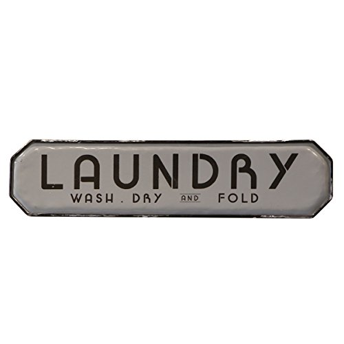 Artistic Metal Plaque - NIKKY HOME Vintage Metal Wall Plaque Sign for Laundry Room 20 Inches Grey