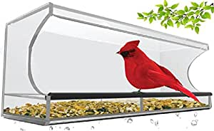Large Clear Acrylic Window Mounted Bird Feeder with 4 Strong Suction Cups. Attract Outdoor Garden Birds like Cardinals and Blue Jays. Simple to Install, Easy to Fill Seeds.