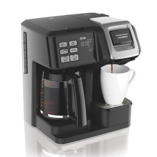 Hamilton Beach (49976) FlexBrew Coffee Maker, Single Serve & Full Coffee Pot, Compatible with Single-Serve Pods or Ground Coffee, Programmable, Black (Best Way To Clean Coffee Machine)