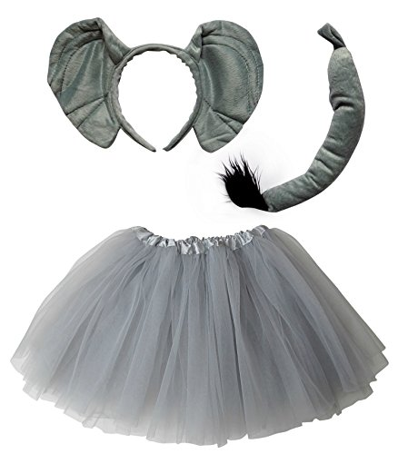 So Sydney Kids Teen Adult Plus Tutu Skirt, Ears, Tail Headband Costume Halloween Outfit (M (Kid Size), Elephant Gray)