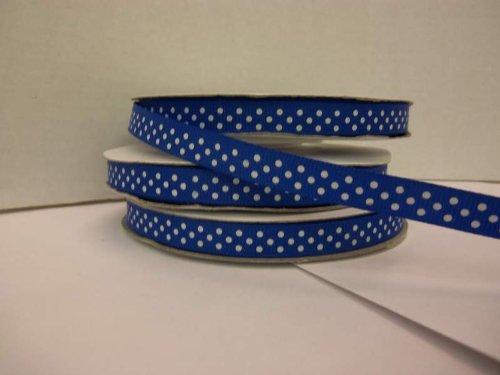 Blue Polka Dot Grosgrain Ribbon - Polka Dot Grosgrain Ribbon-3/8
