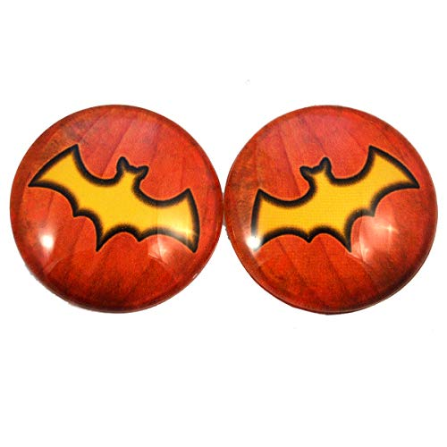 Glowing Bat Jack-O-Lantern Pumpkin Glass Eyes Scary Halloween Art Dolls Taxidermy Sculptures or Jewelry Making Cabochons Crafts Matching Set of 2 in Orange and Yellow (40mm) for $<!--$11.99-->