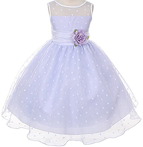 Lavender Organza Special Occasion Dress with White Polka Dots Girls - 4