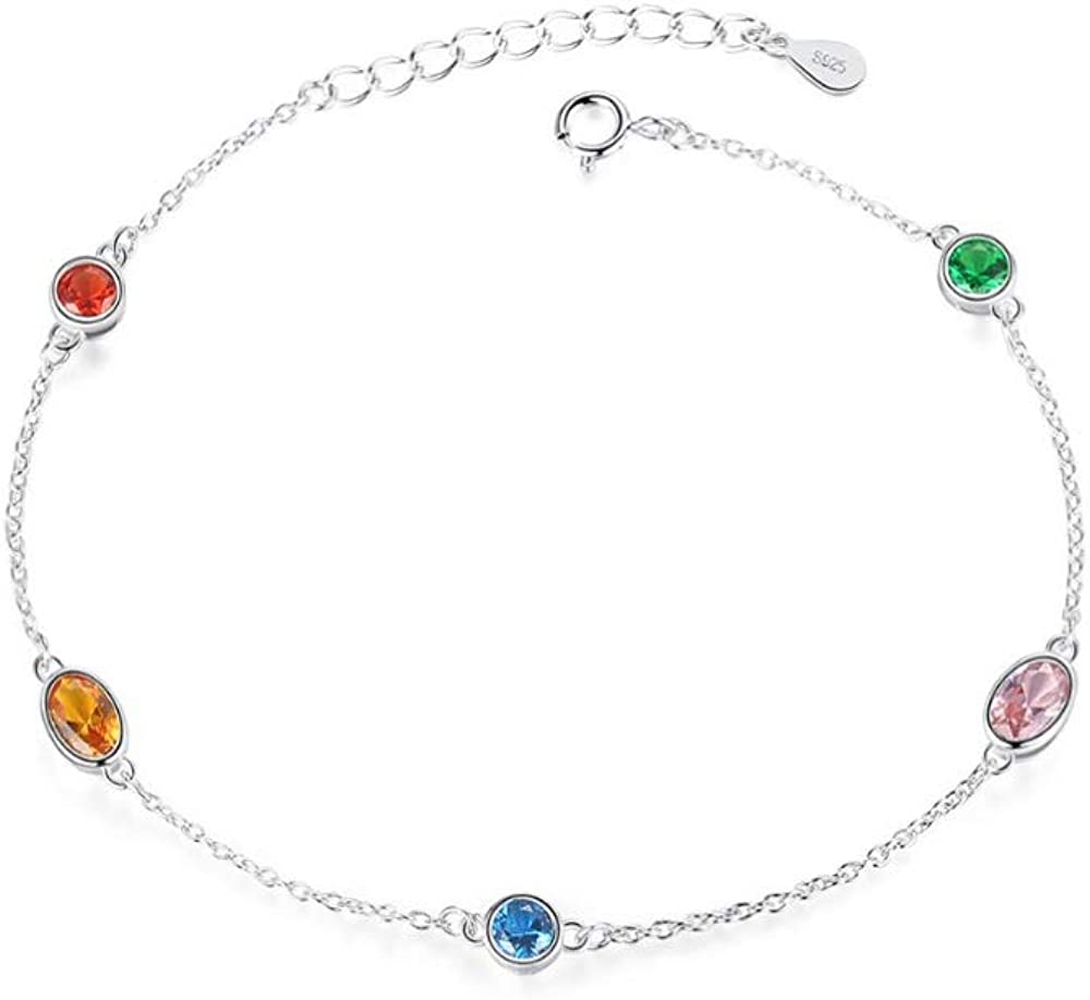 Pulsera de plata de ley 925 con cadena y eslabones para mujer, joyería fina, fiesta colorida de topacio plateado